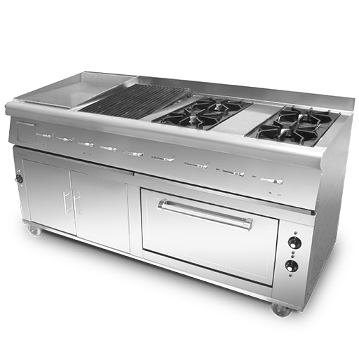 Cooking Range 4 Burners With Grill Hot Plate & Cabinet